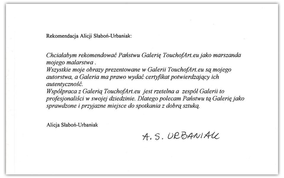 Referencje Alicja Słaboń-Urbaniak