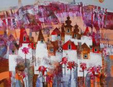 Miasto z czerwonymi kwiatami