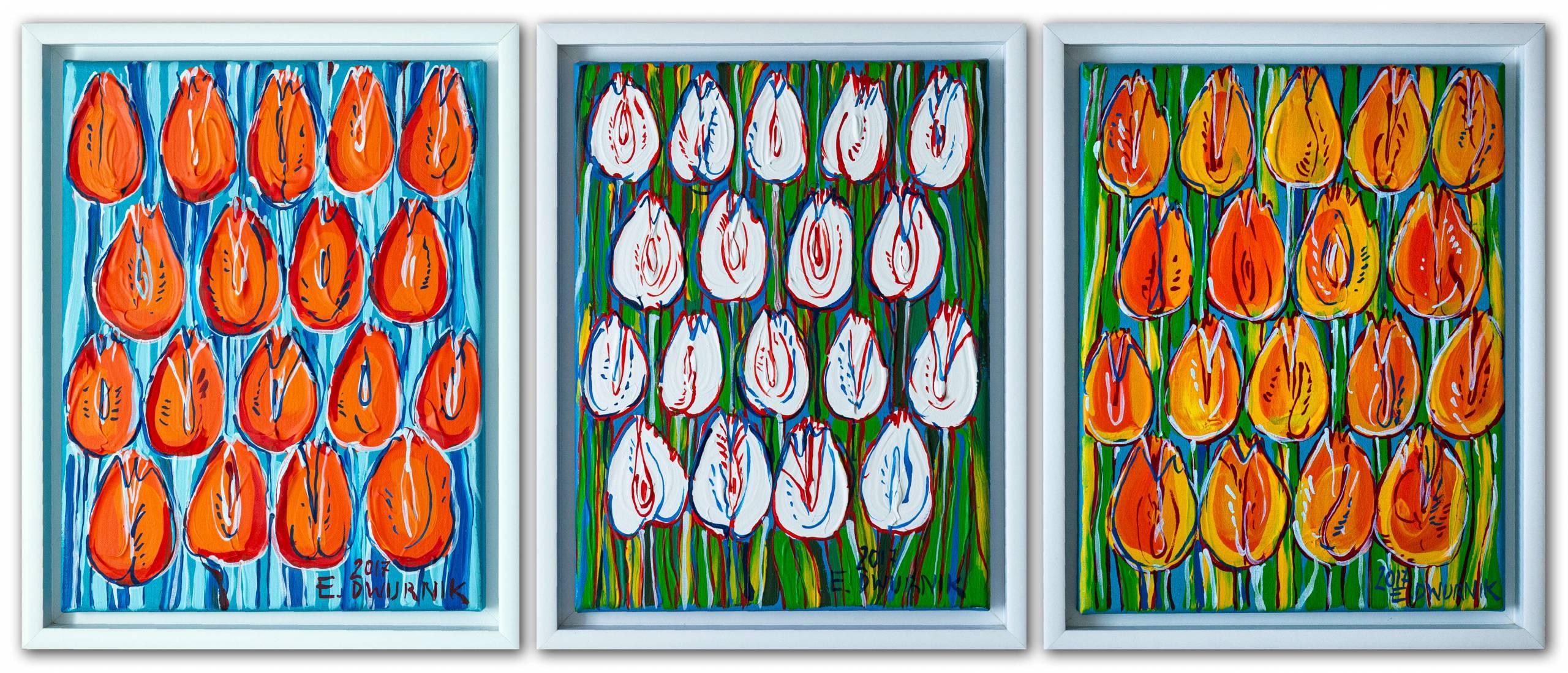 Tulipany - Tryptyk (Pomarańczowe, Białe, Żółte)